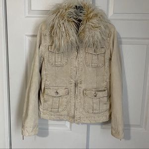 70s INSPIRED CORDUROY JACKET WITH SHAGGY COLLAR